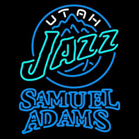 Samuel Adams Double Line Utah Jazz NBA Beer Sign Neon Sign