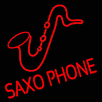 Saxophone Block Logo Neon Sign