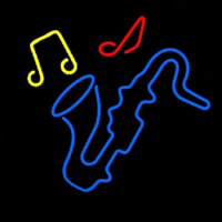 Saxophone With Musical Notes Neon Sign