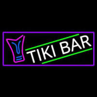 Sculpture Tiki Bar With Purple Border Neon Sign