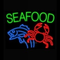 Seafood Fish Crab Neon Sign