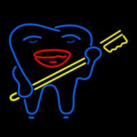 Smiley Teeth With Tooth Brush Dentist Neon Sign