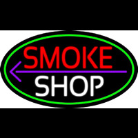 Smoke Shop And Arrow Oval With Green Border Neon Sign