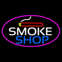 Smoke Shop And Cigar Oval With Pink Border  Neon Sign