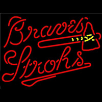 Strohs Atlanta Braves MLB Beer Sign Neon Sign