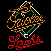 Strohs Baltimore Orioles MLB Beer Sign Neon Sign
