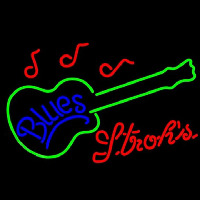 Strohs Blues Guitar Beer Sign Neon Sign
