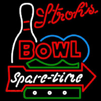 Strohs Bowling Spare Time Beer Sign Neon Sign