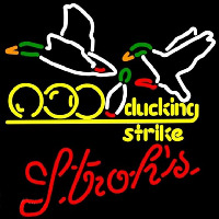 Strohs Bowling Sucking Strike Beer Sign Neon Sign