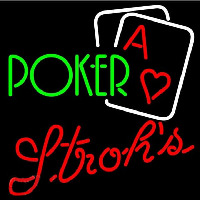 Strohs Green Poker Beer Sign Neon Sign