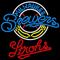 Strohs Milwaukee Brewers MLB Beer Sign Neon Sign
