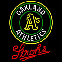 Strohs Oakland Athletics MLB Beer Sign Neon Sign