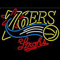 Strohs Philadelphia 76ers NBA Beer Sign Neon Sign