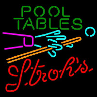 Strohs Pool Tables Billiards Beer Sign Neon Sign