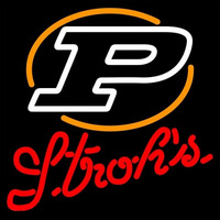 Strohs Purdue Logo University Boilermakers Helmet 16x16 Beer Sign Neon Sign