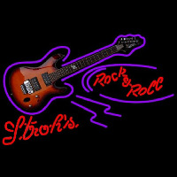 Strohs Rock N Roll Electric Guitar Beer Sign Neon Sign