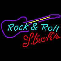 Strohs Rock N Roll Guitar Beer Sign Neon Sign