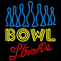 Strohs Ten Pin Bowling Beer Sign Neon Sign