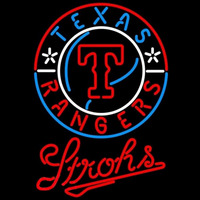 Strohs Texas Rangers MLB Beer Sign Neon Sign