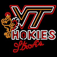 Strohs Virginia Tech Vt Hokies Logo Hockey Beer Sign Neon Sign