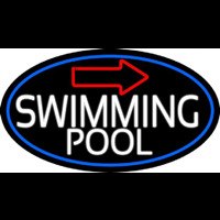 Swimming Pool With Arrow With Blue Border Neon Sign