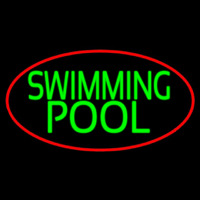 Swimming Pool With Red Border Neon Sign