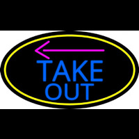 Take Out And Arrow Oval With Yellow Border Neon Sign