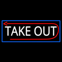 Take Out And Arrow With Blue Border Neon Sign