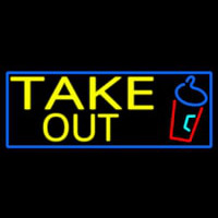 Take Out And Wine Glass With Blue Border Neon Sign