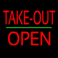 Take Out Block Open Green Line Neon Sign