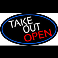 Take Out Open Oval With Blue Border Neon Sign