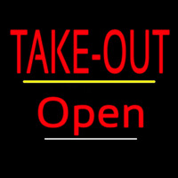 Take Out Open Yellow Line Neon Sign
