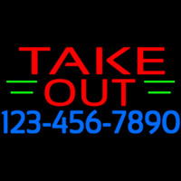 Take Out With Phone Number Neon Sign