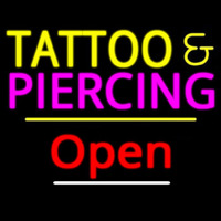 Tattoo And Piercing Open Yellow Line Neon Sign