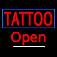Tattoo With Blue Border Open Neon Sign
