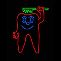 Teeth With Green Tooth Brush Neon Sign