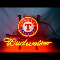 Texas Rangers Baseball Budweiser Beer Neon Light Sign Neon Sign