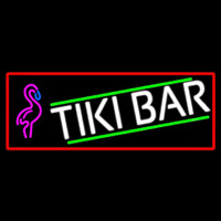 Tiki Bar Flamingo With Red Border Neon Sign