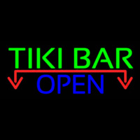 Tiki Bar Open With Arrow Real Neon Glass Tube Neon Sign