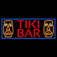 Tiki Bar Sculpture With Blue Border Neon Sign