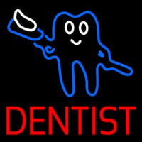 Tooth Logo With Brush Dentist Neon Sign