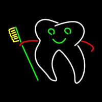 Tooth With Brush Logo Neon Sign
