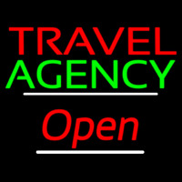 Travel Agency Open White Line Neon Sign