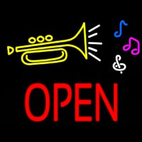 Trumpet Logo Open Block Neon Sign