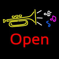 Trumpet Logo Open Neon Sign