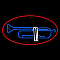 Trumpet Sa ophone Red Border 2 Neon Sign