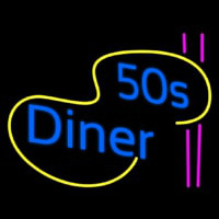 Turquoise 50s Diner Pink Lines Neon Sign