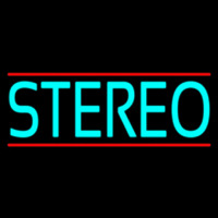 Turquoise Stereo Block Red Line Neon Sign
