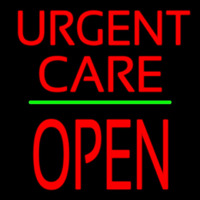 Urgent Care Block Open Green Line Neon Sign