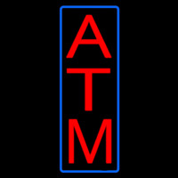 Vertical Atm Blue Border Neon Sign